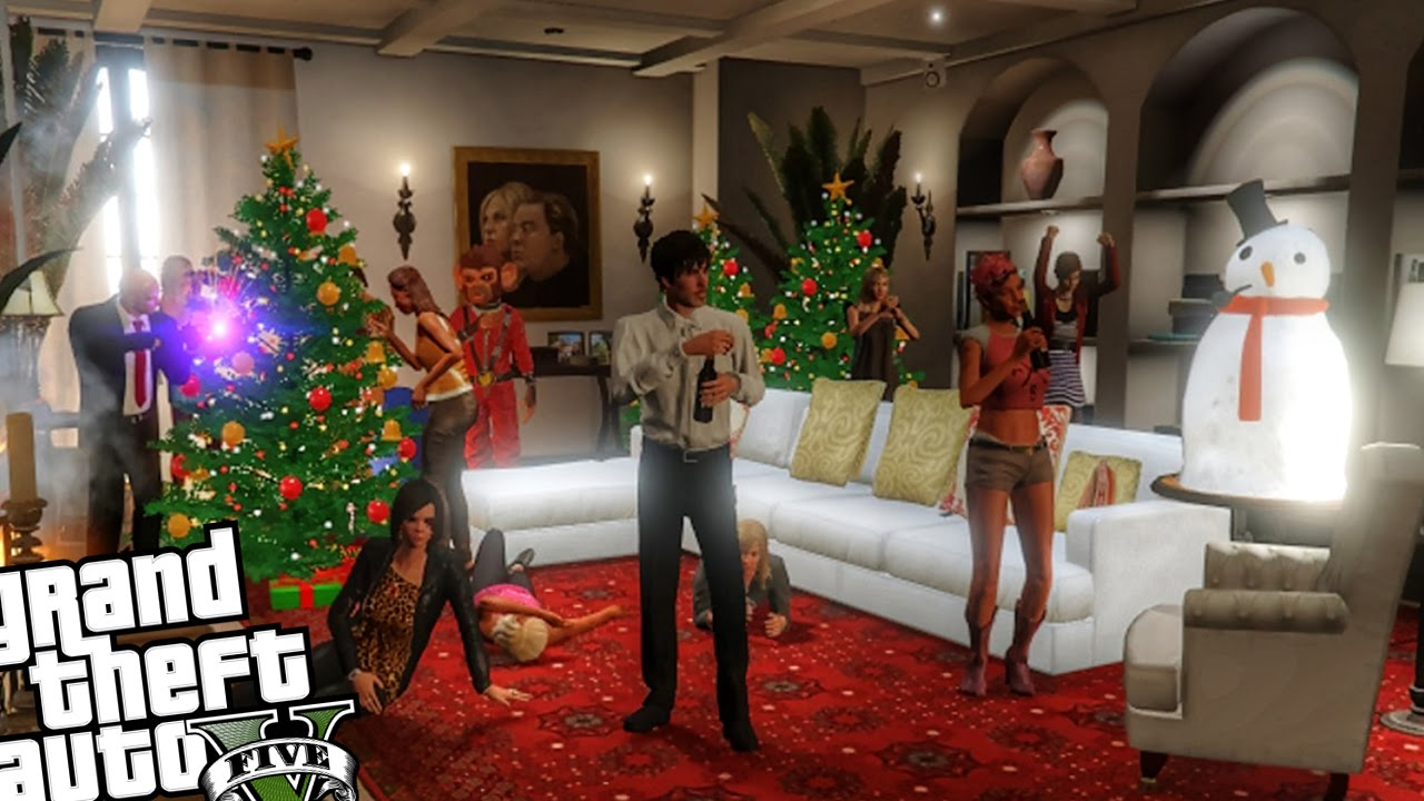 Christmas Party at Michael's Home - GTA 5 PC MOD - YouTube