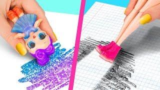 10 Strani Modi per Intrufolare le Barbie in Classe / Trucchi Pazzeschi per la Barbie e LOL Surprise