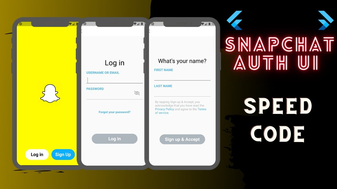 Snapchat Auth UI Clone Using Flutter | Speed Code
