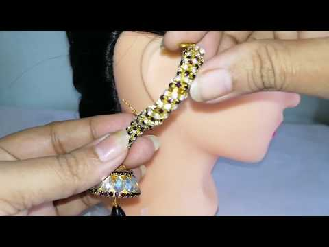 DIY Trendy Stone earrings/ear cuffs with metal bangle