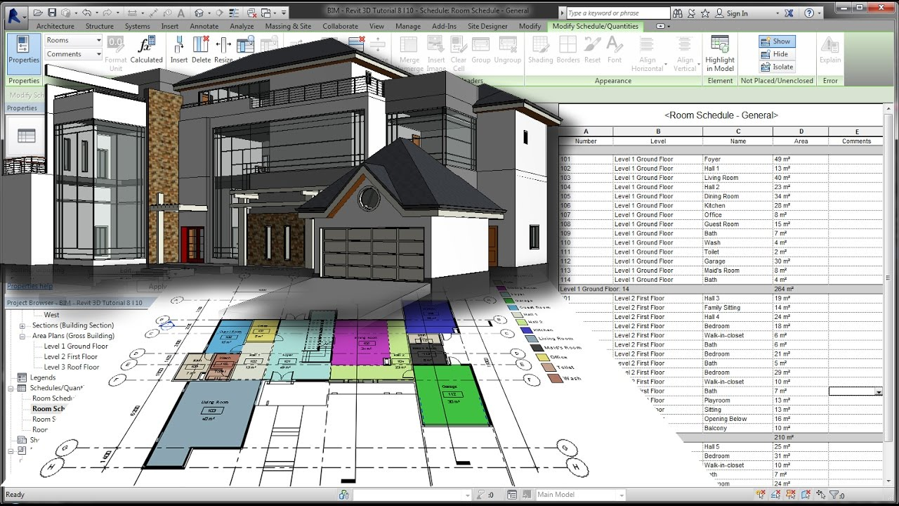 Bim revit 3d tutorial for beginners 8of10 room area tag for How to find a good builder in your area