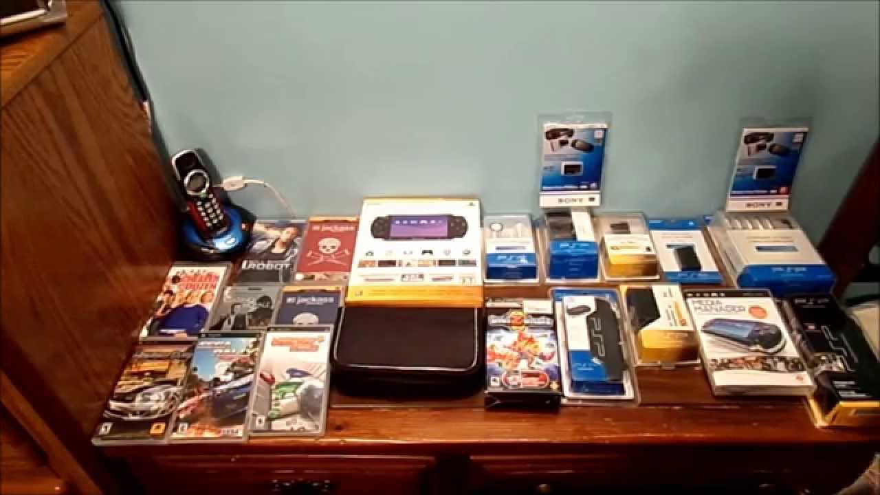 MY COLLECTION OF PSP ACCESSORIES AND GAMES AND VIDEOS