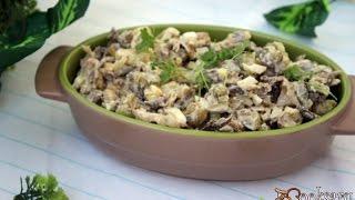 Салат с говядиной и жареными вешенками