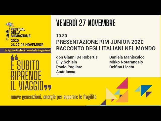 Prima sessione Festival della Migrazione 2020 // Venerdì 27 novembre