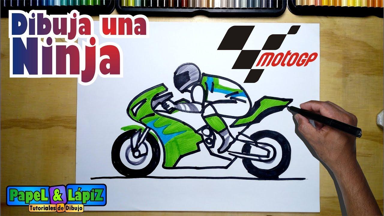 Cómo Dibujar Una Motocicleta Ninja De Moto Gp Youtube