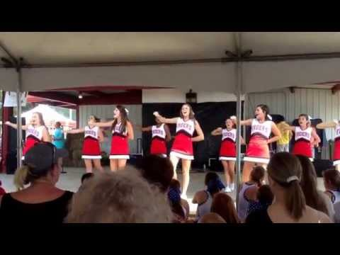 15-16 Luverne High School Junior Varsity Cheerleaders. Perform at Peanut Festival..
