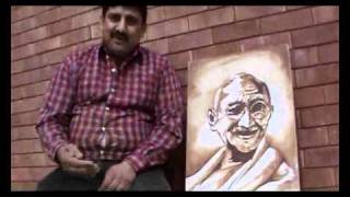 Drawing Blood For Peace - Mahatma Gandhi drawn in Blood in Lahore, Pakistan