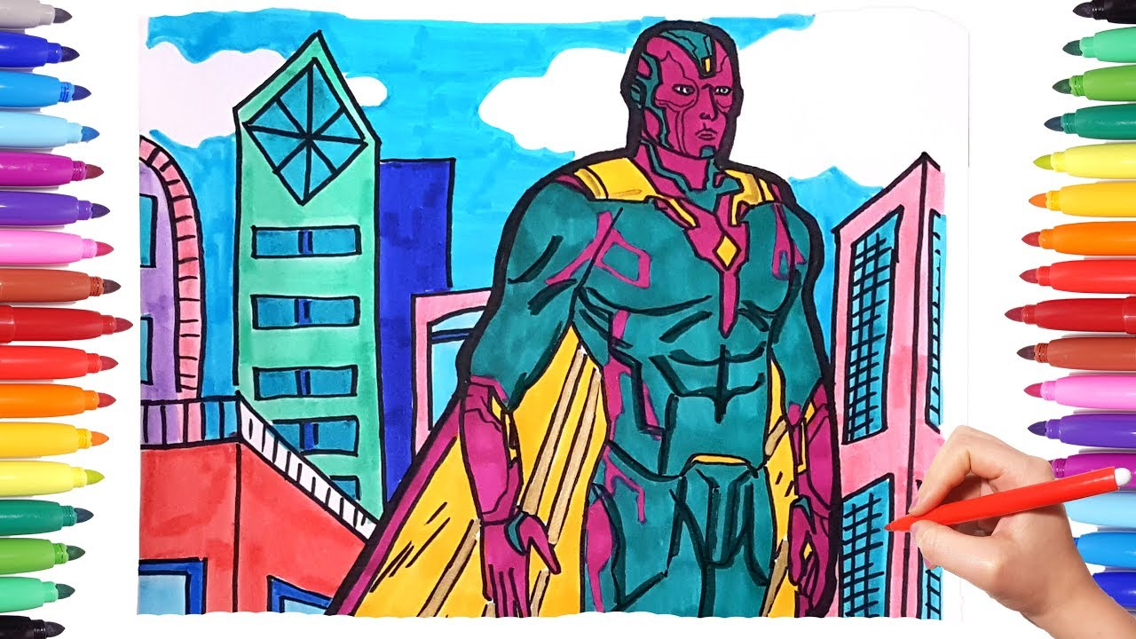 Marvel Avengers Drawing And Coloring Vision Superheroes