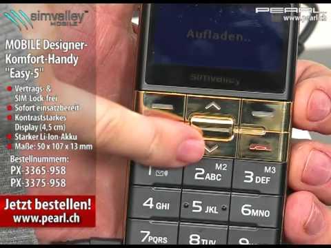 """simvalley MOBILE Designer-Komfort-Handy """"Easy-5"""" Silber"""