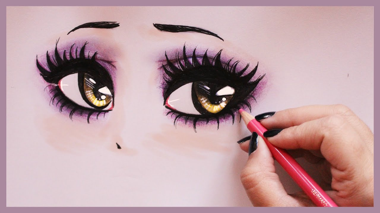 Blue and purple colored pencils, just like these artists:. Drawing Tutorial How to draw and color Vampy Eyes - YouTube