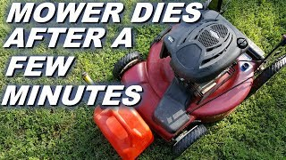 Lawnmower stops running after a few minutes, running out of gas?