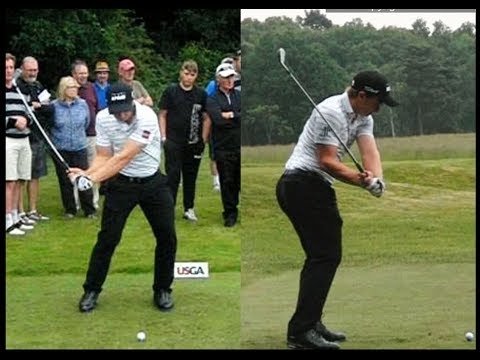 Paul Dunne golf swing Long-Iron (down-the-line & face-on) US Open Qualifying, June 2018.