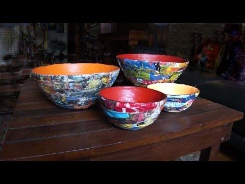 vasilhas de jornal e revista - Bowls of newspaper and magazines - CUENCO CON periódicos y revistas
