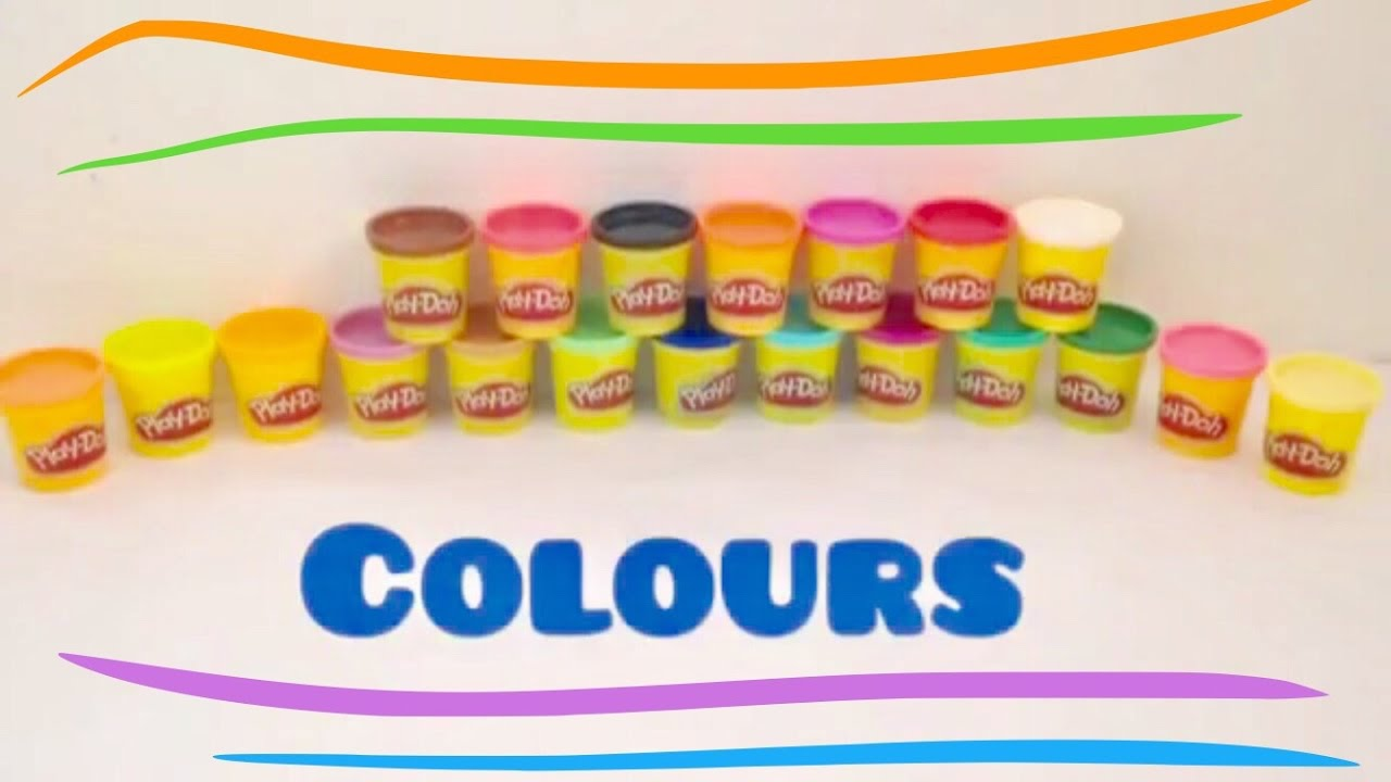 f475640a1940 Learn Colors - pink, yellow, purple, green, blue, brown, red, white, black  - play doh