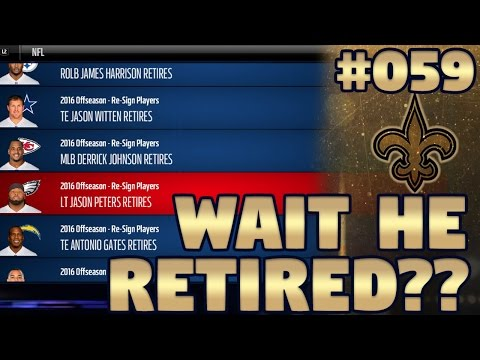 Madden NFL 17 New Orleans Saints Franchise Ep. 59 | S1 Retirements & Re-Signing