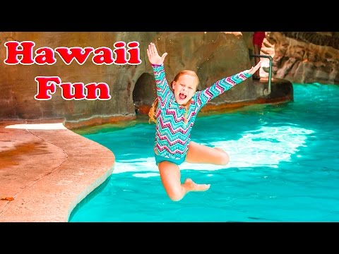 ASSISTANT Hawaii Fun Water Slides + Surfing and A Luau Fun Kids Travel Video 2