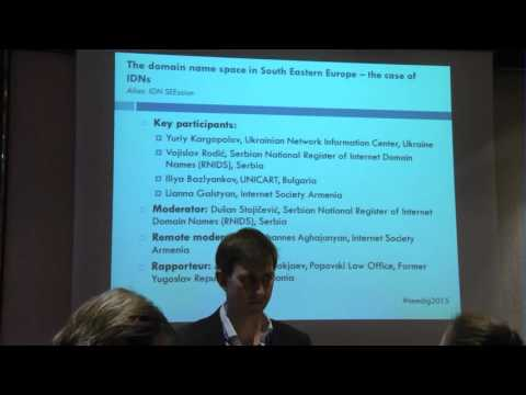 SEEDIG 2015, Sofia, The domain name space in SEE – the case of IDNs