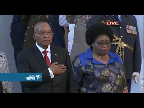 21 gun salute and singing of National Anthem as Zuma arrives for #SONA2017