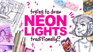 CAN I DRAW NËON LIGHTS WITH MARKERS?! | ZenPop! Japanese Stationery Unboxing