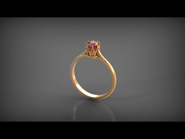 3D модель Кольцо с камнем. Ring With Gem. Rhinoceros.