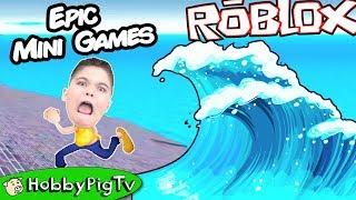 Roblox EPIC MINI GAMES! Natural Disaster Flash Flood + Laser War Battle HobbyPigTV