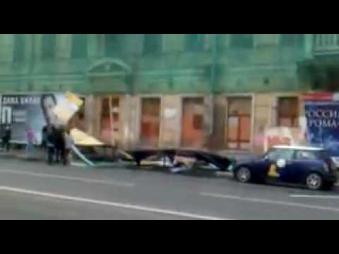 moscow wasted youth destroying street advertising panels on Solyanka street