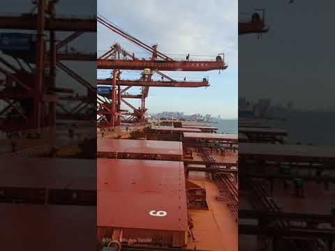Ship arrival and berthing on port.