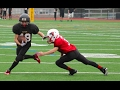 Youth foot ball spin off tackle break touchdown