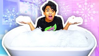 BATHING IN A SNOW BATH TUB! (EXTREME)