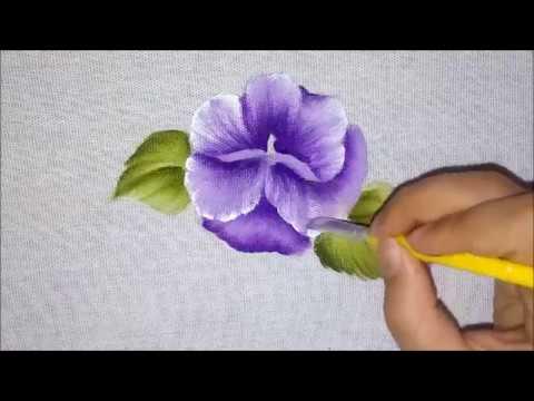 Como pintar Amor Perfeito Lilás. Pintura em tecido