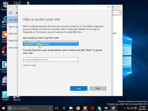 How to verify microsoft acount in windows 10