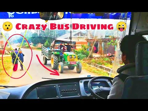 CRAZY Nepali Bus Driver || Bus View On Hillside Highway || Nepali Bus Driving
