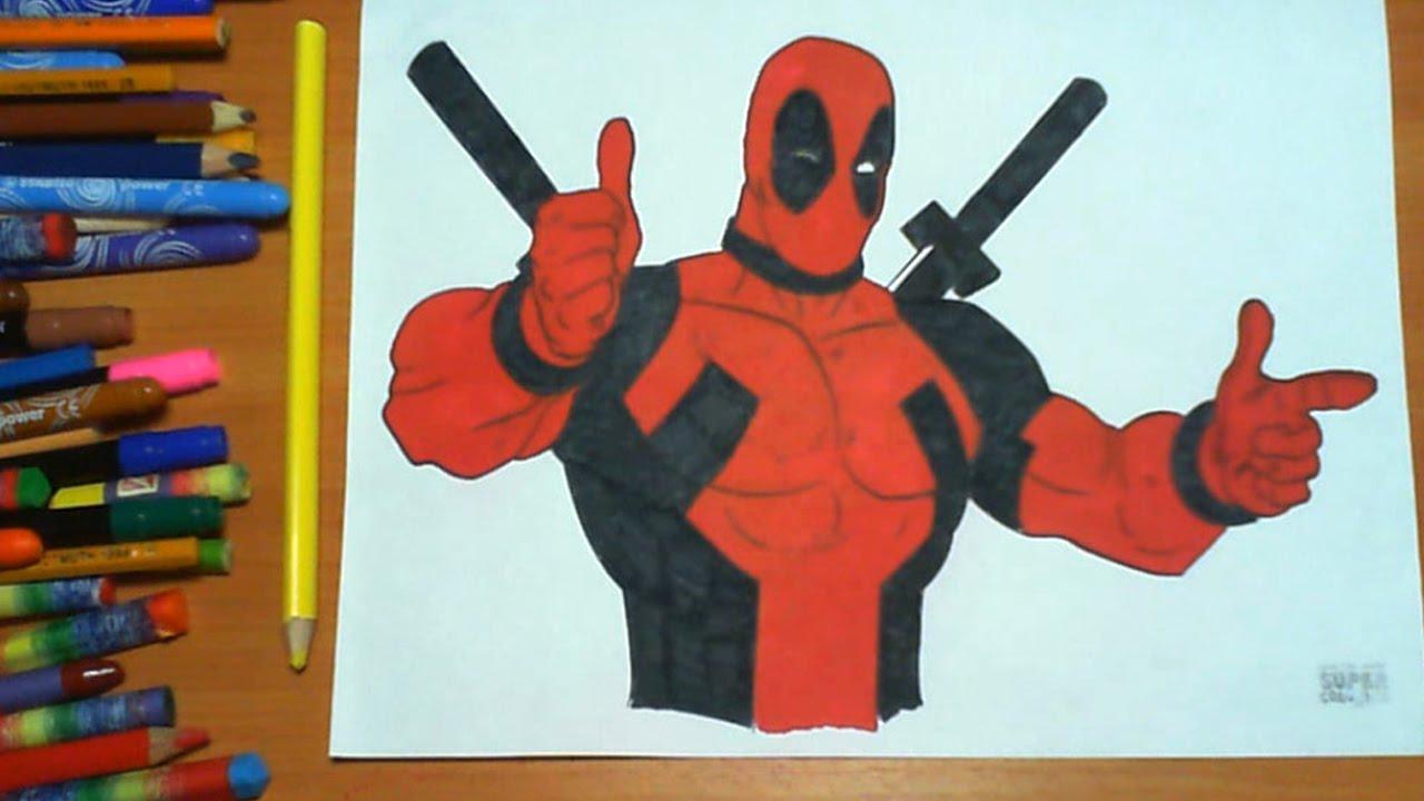 Coloring pages deadpool - Deadpool New Coloring Pages For Kids Colors Superheroes Coloring Colored Markers Felt Pens Pencils