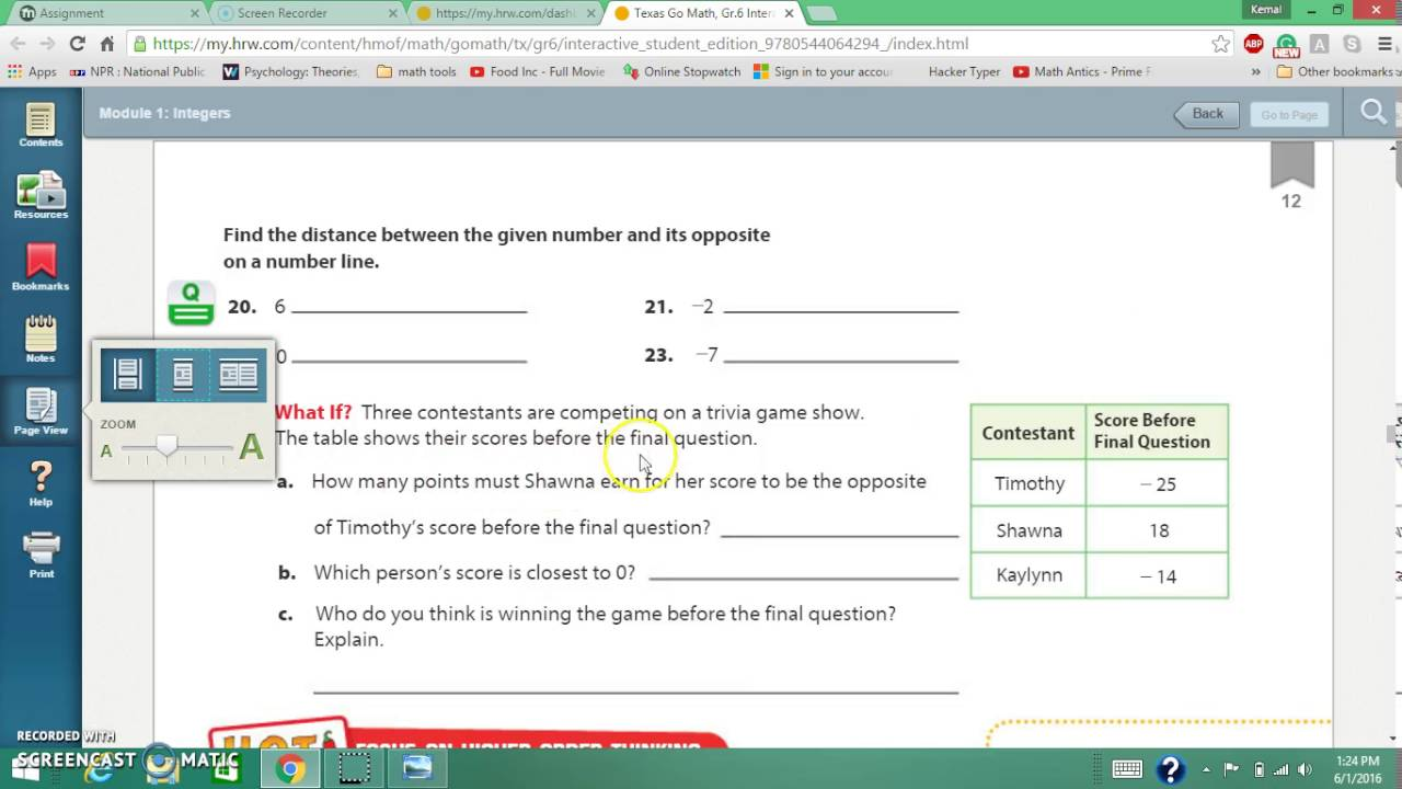 6th grade math online textbook tutorial - YouTube