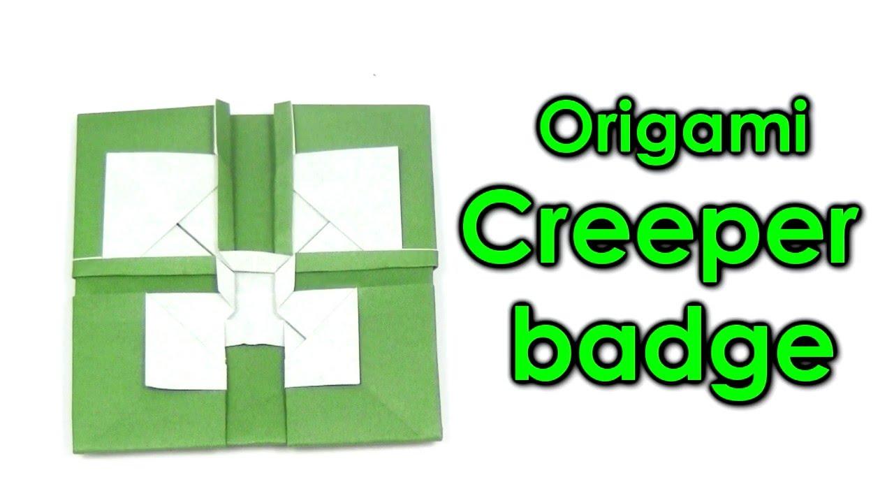 origami creeper minecraft mega easy creeper face