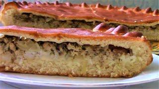 Пирог сказка с консервированной сельдью ./Пирог рецепт ./Рыбный пирог ./Пирог с консервами .