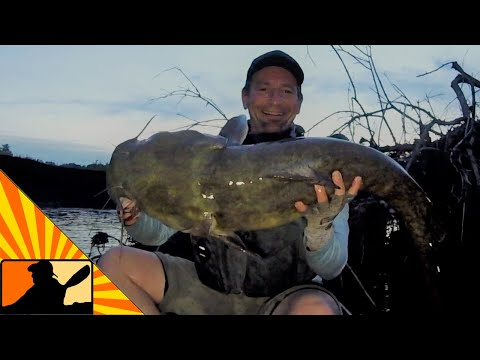 Kayak Fishing At Night For BIG Flathead Catfish (Things Get REAL SKETCHY)
