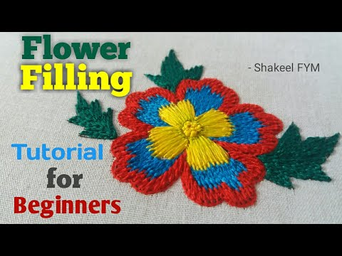 Embroidery Stitches for Beginners | Flower thread filling | Aari Work