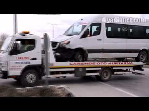 Minibüs ile otomobil çarpıştı 14 yaralı-KARAMAN