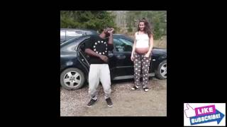 Heavy pregnant woman dance with husband in an amazing way