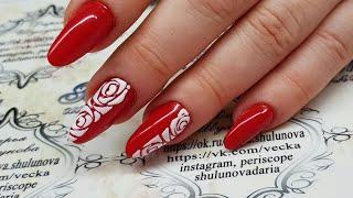 дизайн ногтей трафаретные розы схема. как рисовать трафаретные розы. схема розы