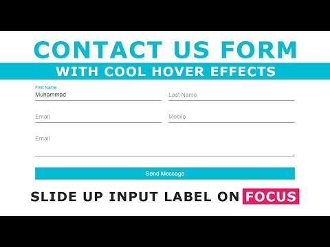 Html5 Css3 Contact Form Design With Floating Placeholder On Focus - Move Placeholder Text On Focus