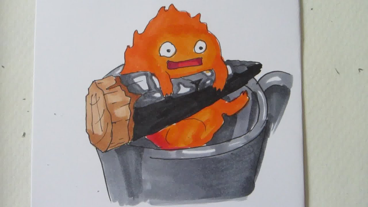 Cute Drawing Wallpaper How To Draw Calcifer The Fire Demon From Howl S Moving
