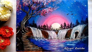 Heavenly Waterfalls Painting | Acrylic Painting | Waterfall Scenery Painting