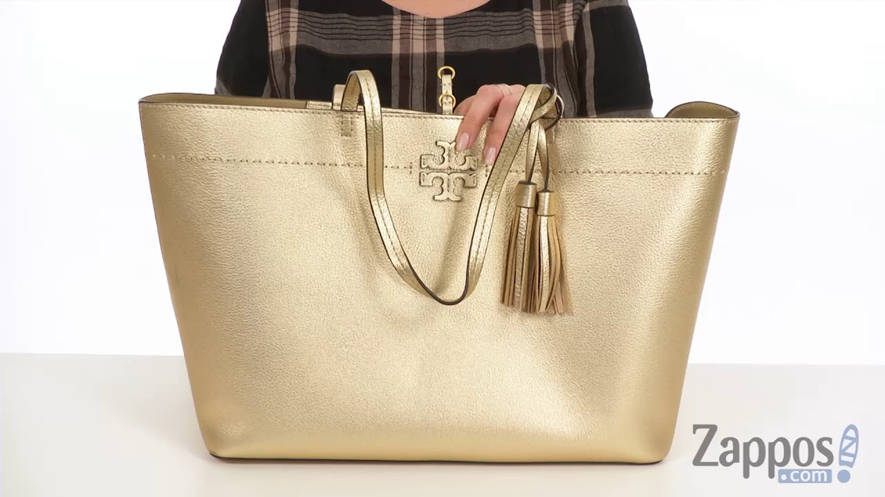 3e752f0c8 Tory Burch McGraw Metallic Tote SKU: 9024081 - YouTube