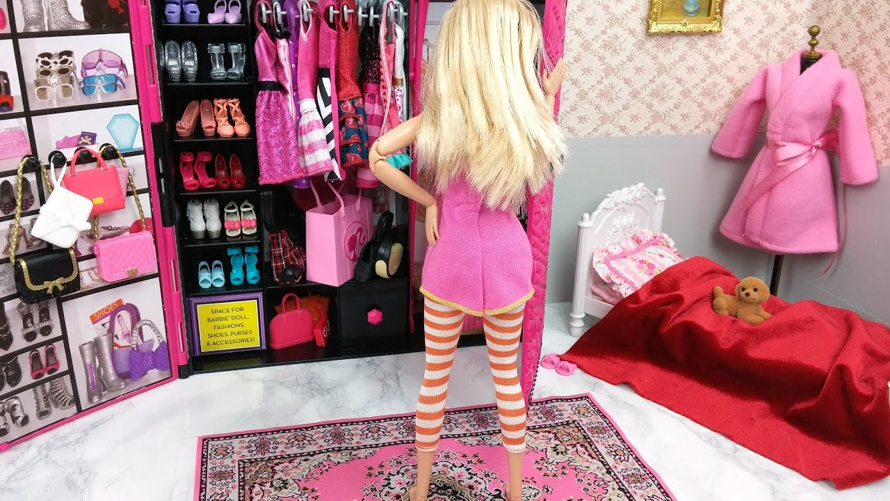 Barbie room princess rapunzel doll morning routine - Camera da letto di barbie ...