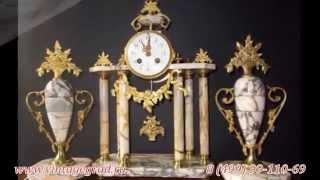"""Каминные часы с боем купить в Москве недорого в интернет магазине """"Винтаж Град"""", бронза, мрамор,"""