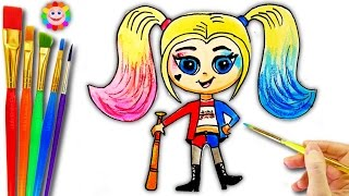 How To Draw A Cartoon Harley Quinn Coloring for Girls Super Hero