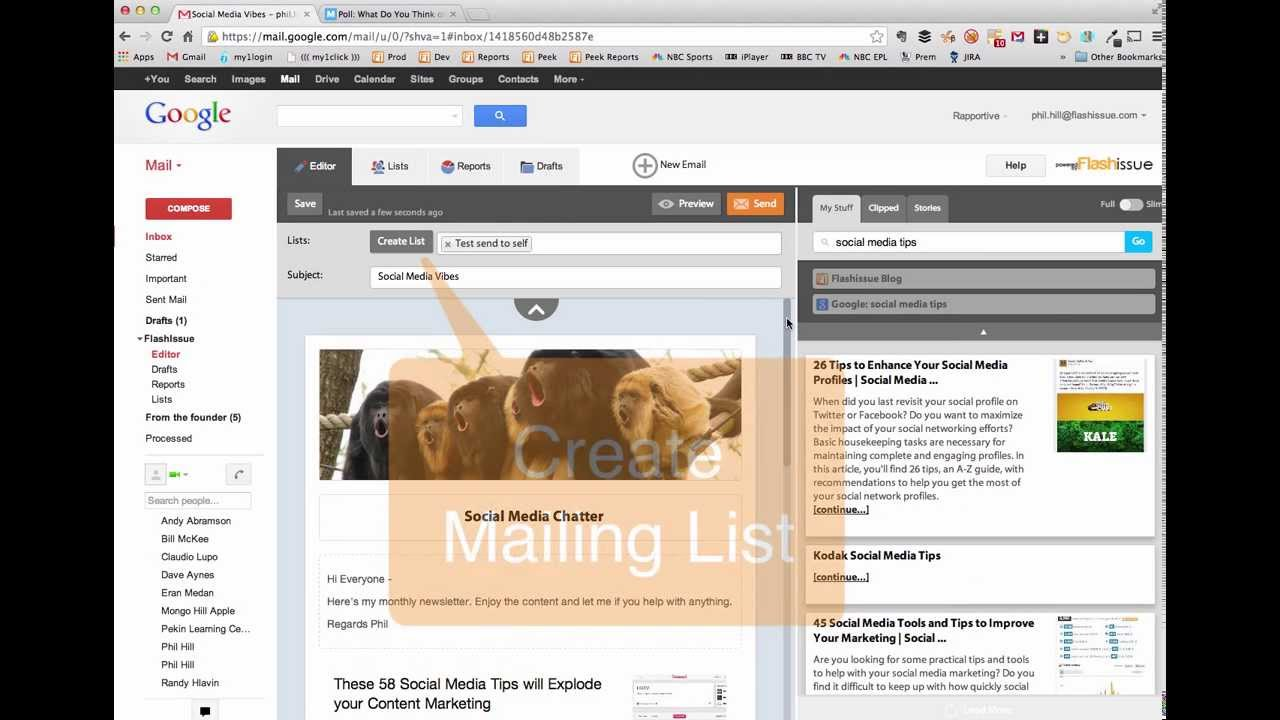 Flashissue for Gmail: create emails, build lists and track ...