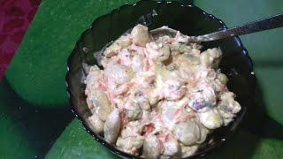 Салат из фасоли с сухариками. Просто, быстро и вкусно.